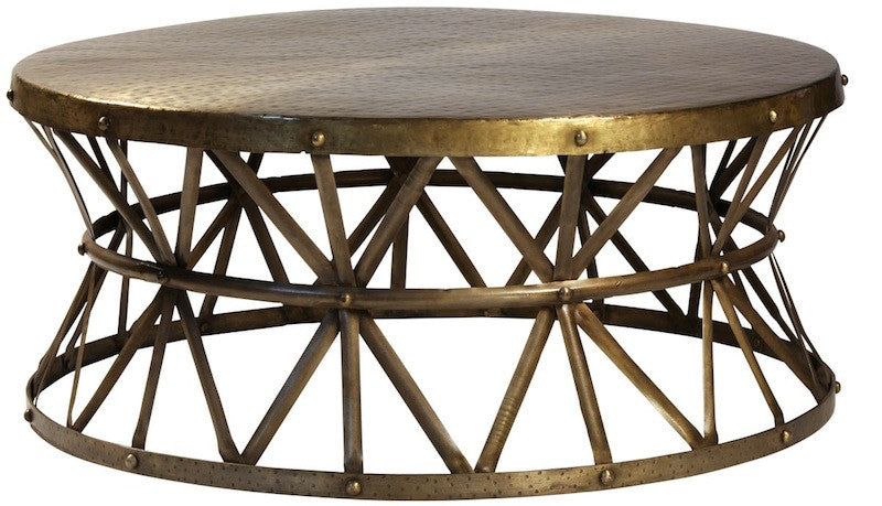 ... Hammered Steel Round Cocktail Table. Tap To Expand