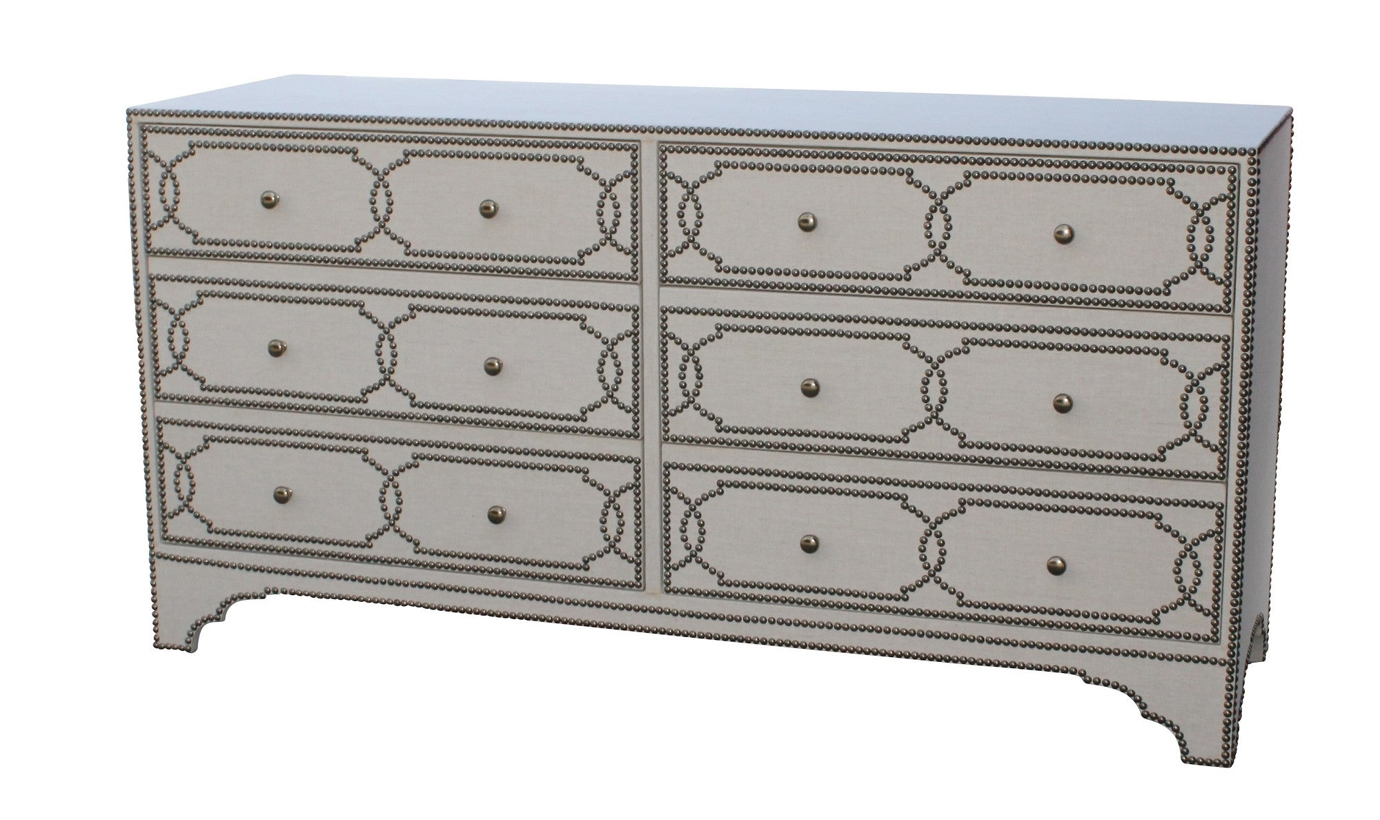 Cabrillo Dresser -Linen Wrapped Dresser with Nailhead Trim