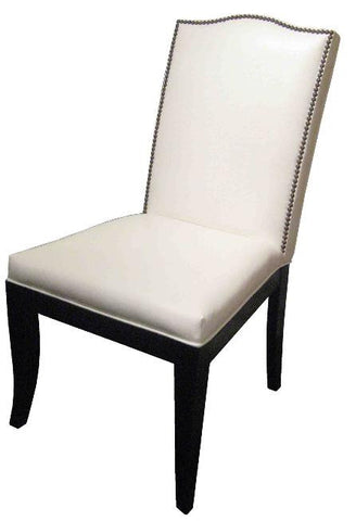 Carson, Camel back Dining Chair in Faux White Leather