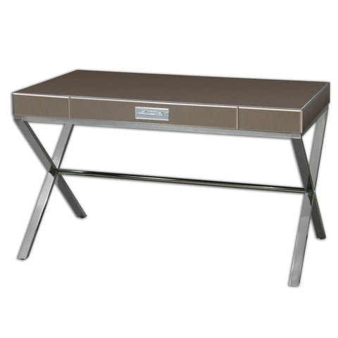 Lex Modern Glass & Metal Desk