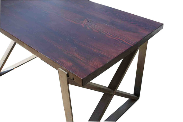 Chicago industrial dining table in reclaimed wood for Non wood dining table