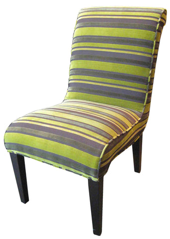 Cobra, Chartreuse Striped Velvet Dining Chair