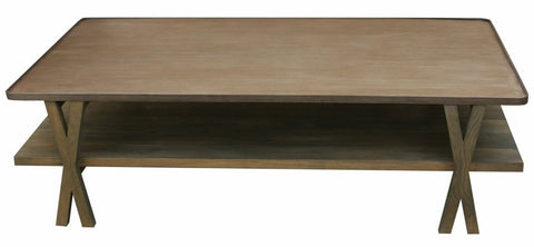 Contemporary Metal and White Oak Coffee Table