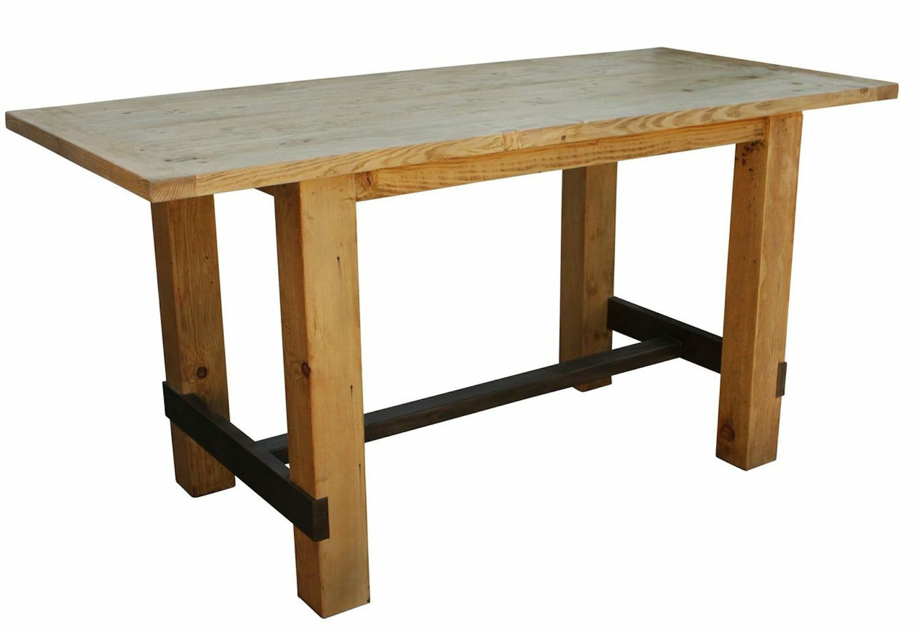 Reclaimed wood bar height table mortise tenon for Bar table cuisine
