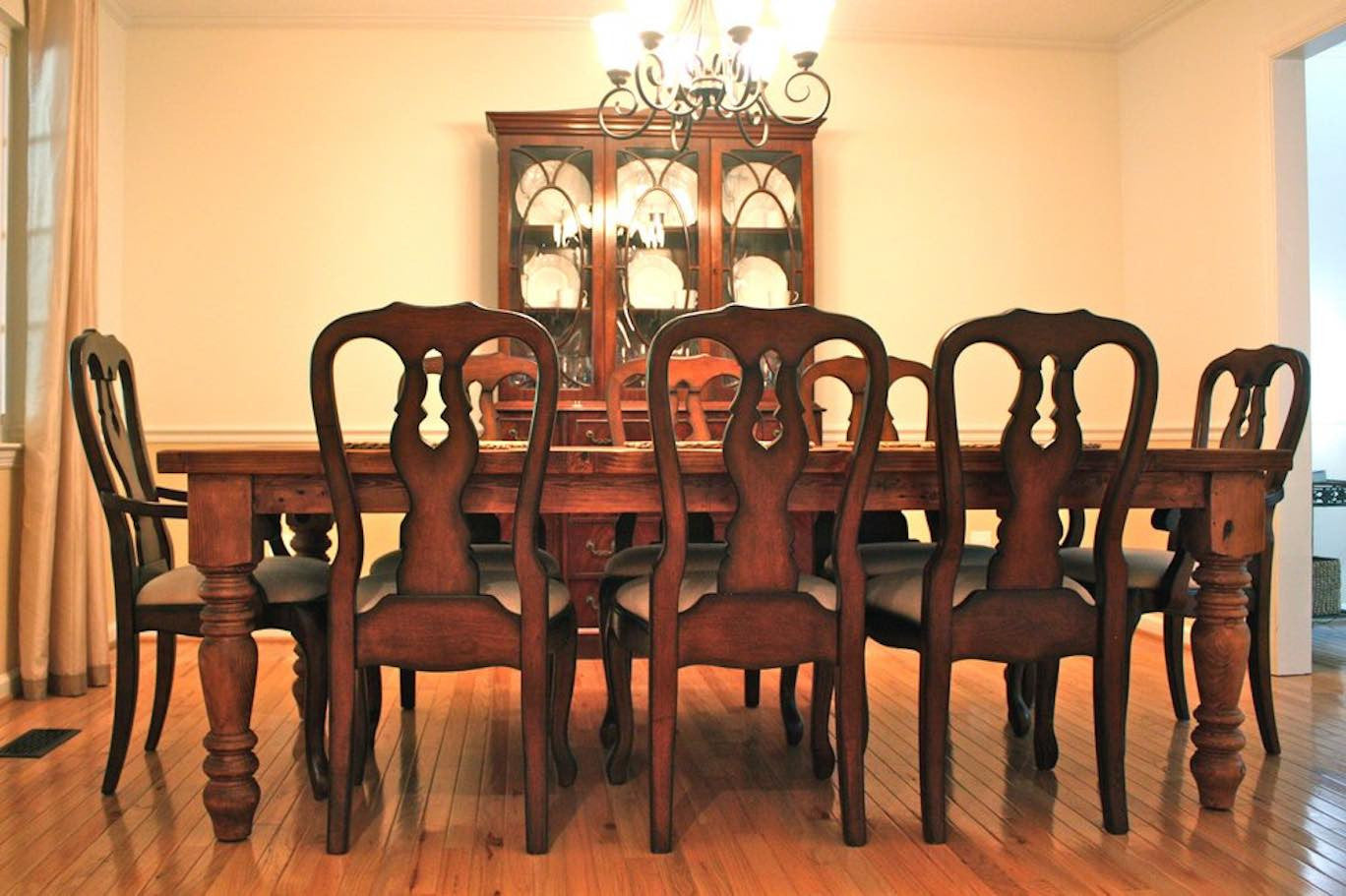 traditional dining room set with solid wood chairs