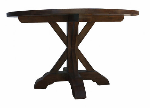 X-Base Round Reclaimed Wood Dining Table