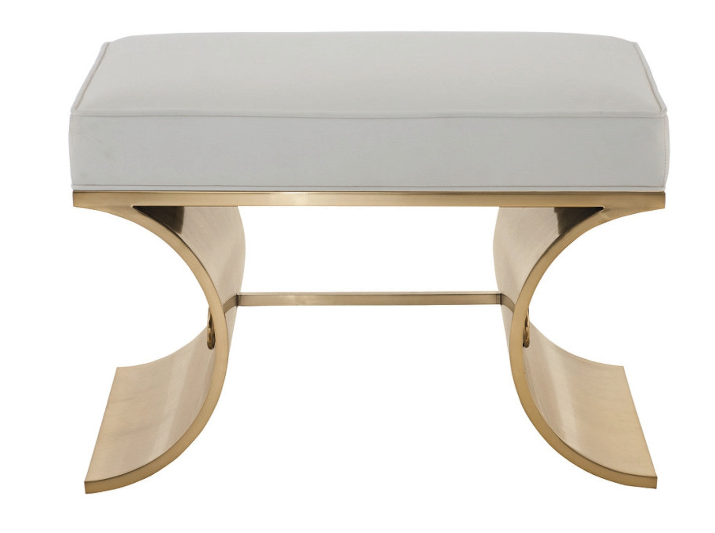 Cosmopolitan White Leather Brass Bench