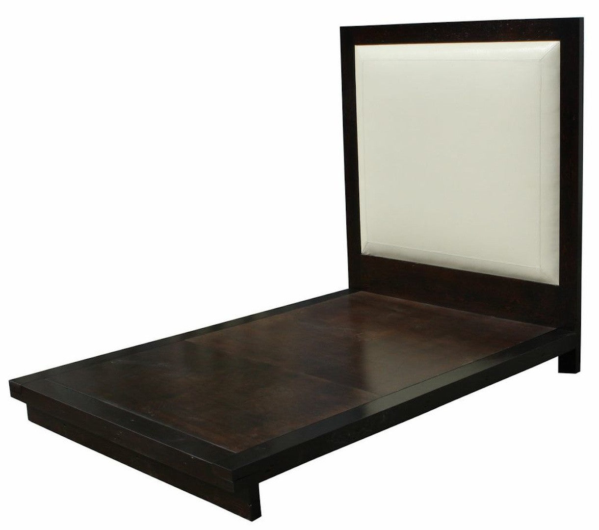 urban reclaimed wood and faux leather platform bed
