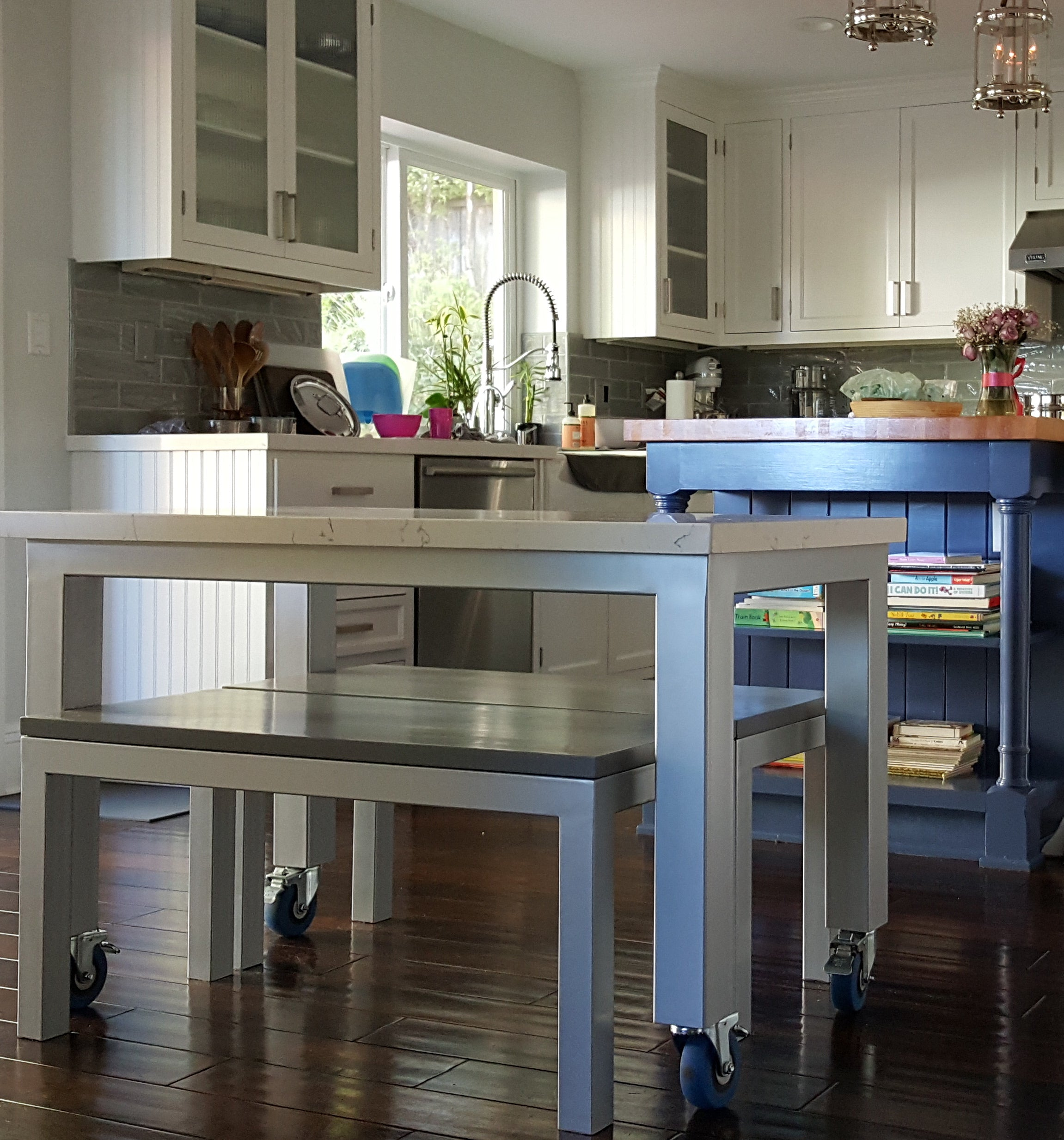 Marble Kitchen Rolling Dining Table And Bench Mortise