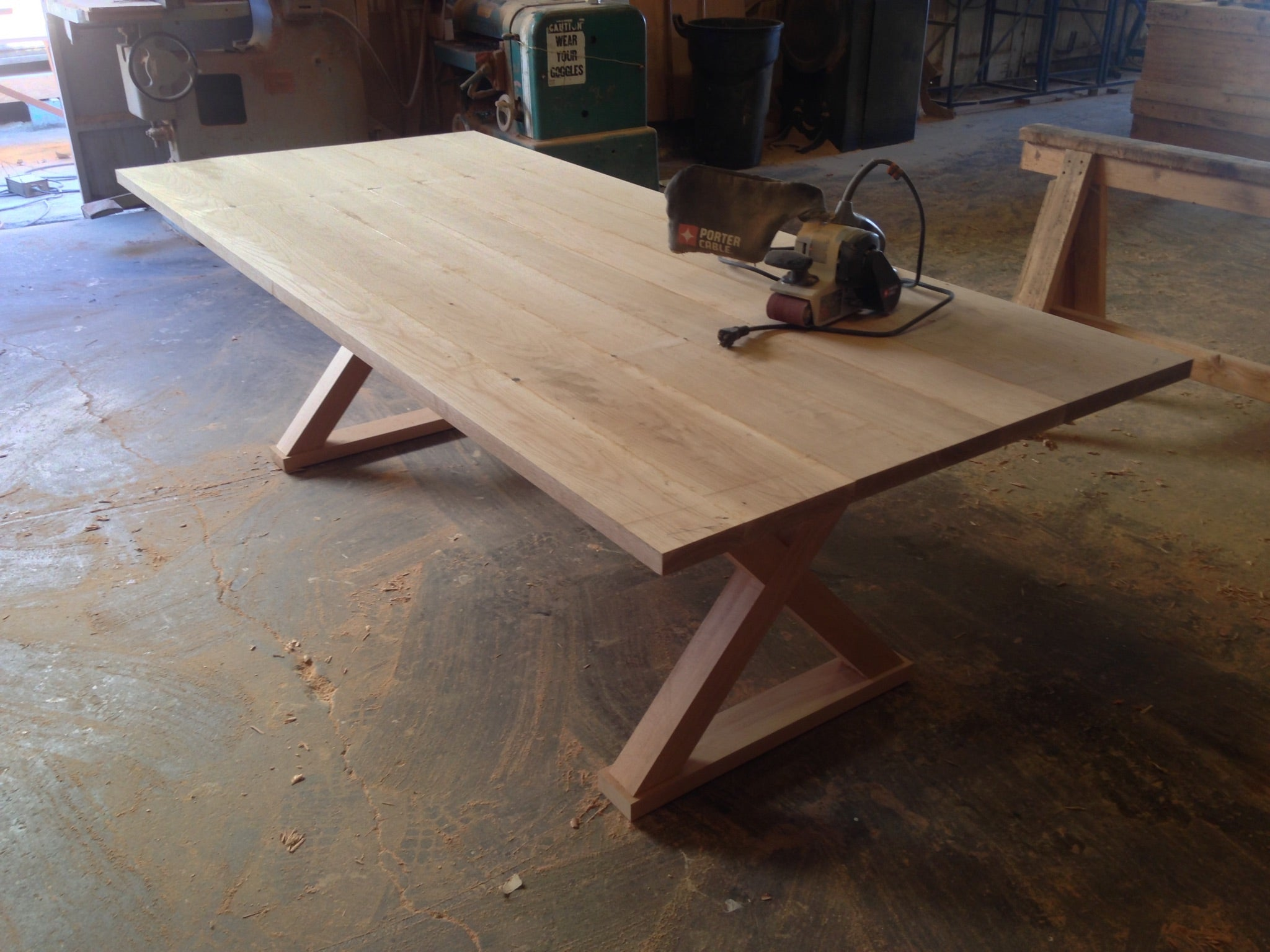 White oak x base dining table