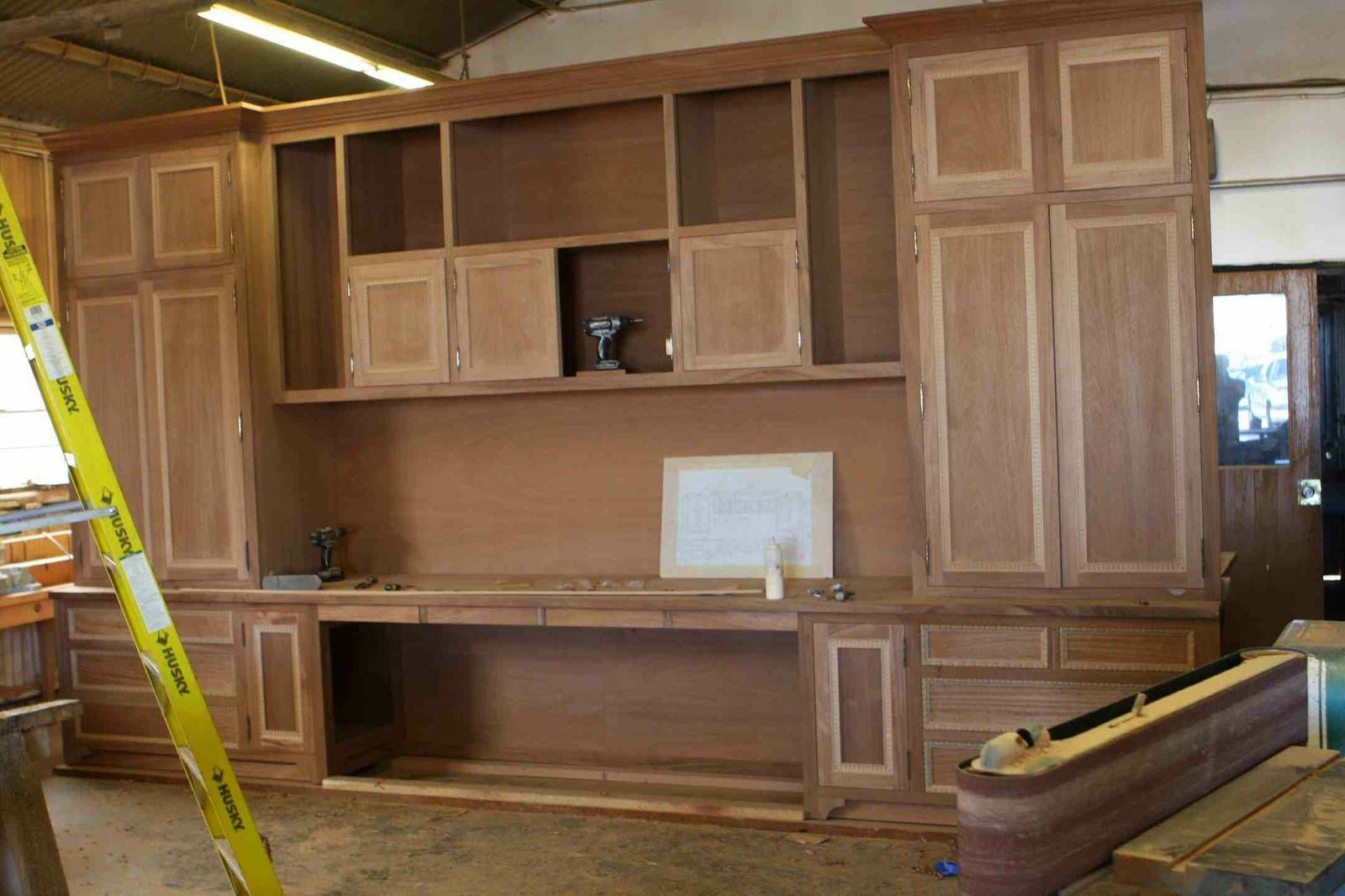 Custom Builtin Mahogany Wood Home Office Cabinets