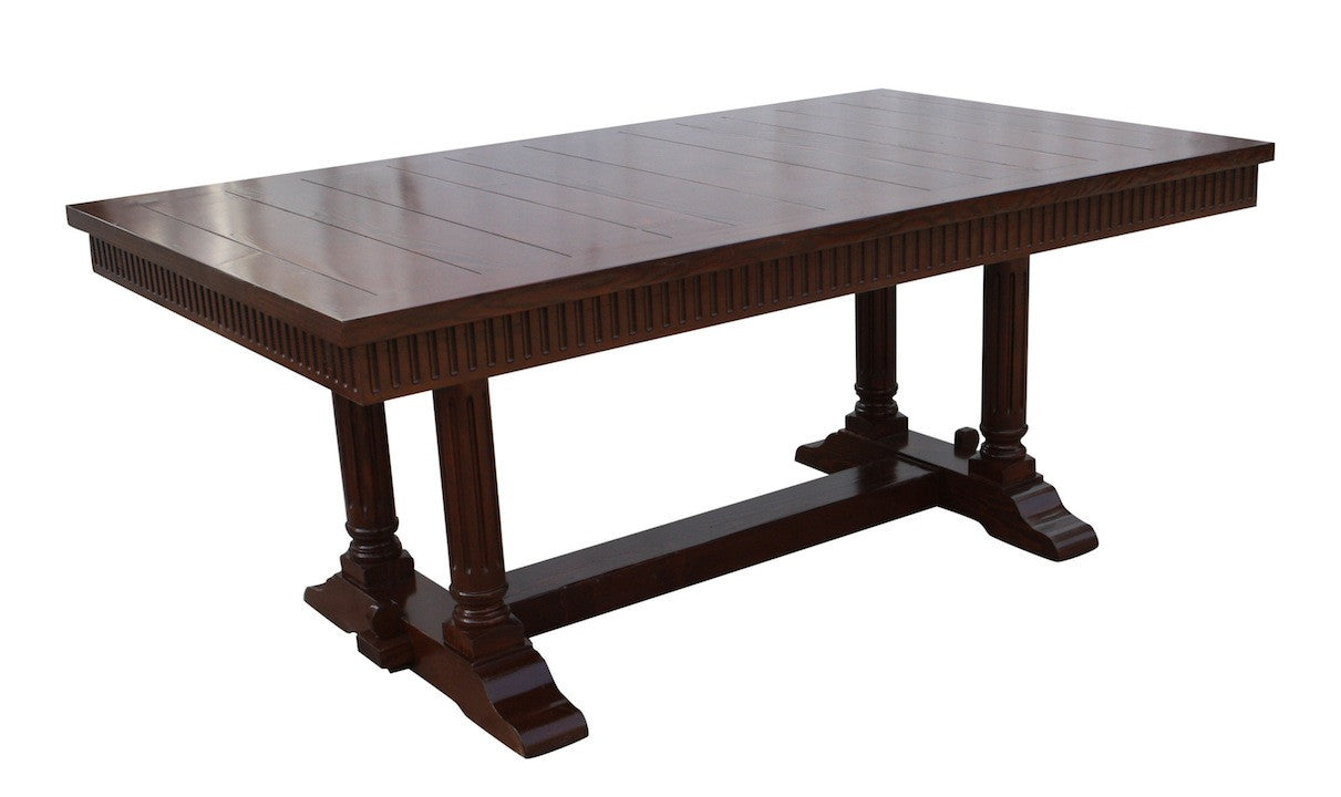 ... Country Style Salvaged Wood Trestle Table Shown With Extension ...