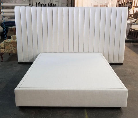 Queen Size Upholstered Channeled Platform Bed