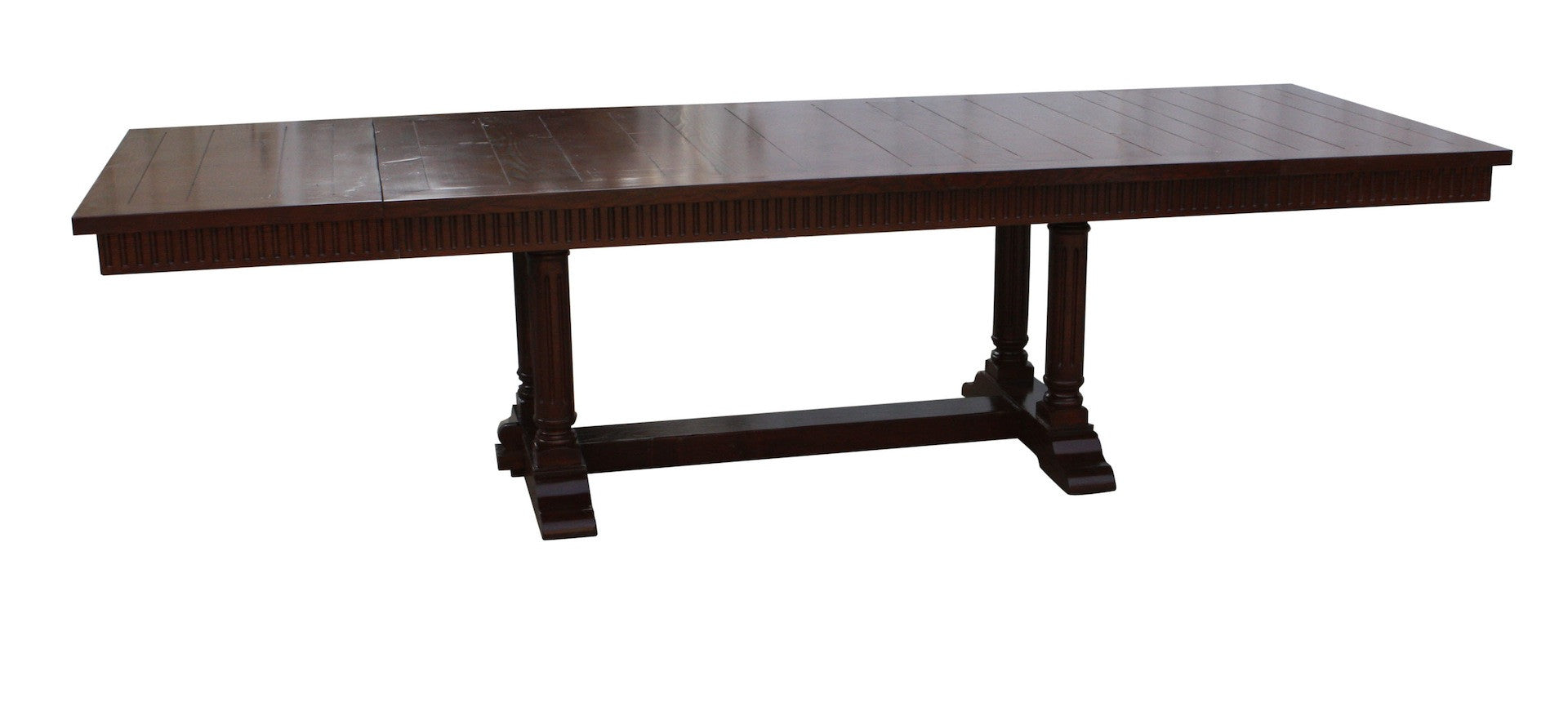 Cambria Rustic Extension Trestle Dining Table Built In Reclaimed