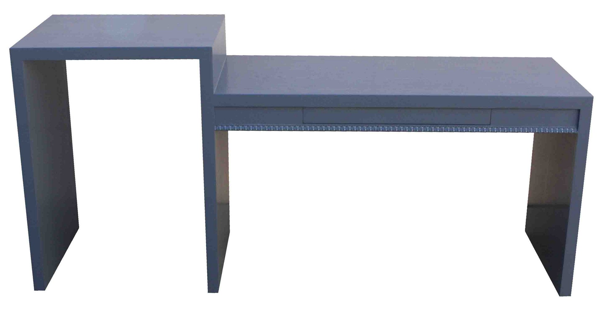 Custom Grey Blue Two Level Desk for Spec Home