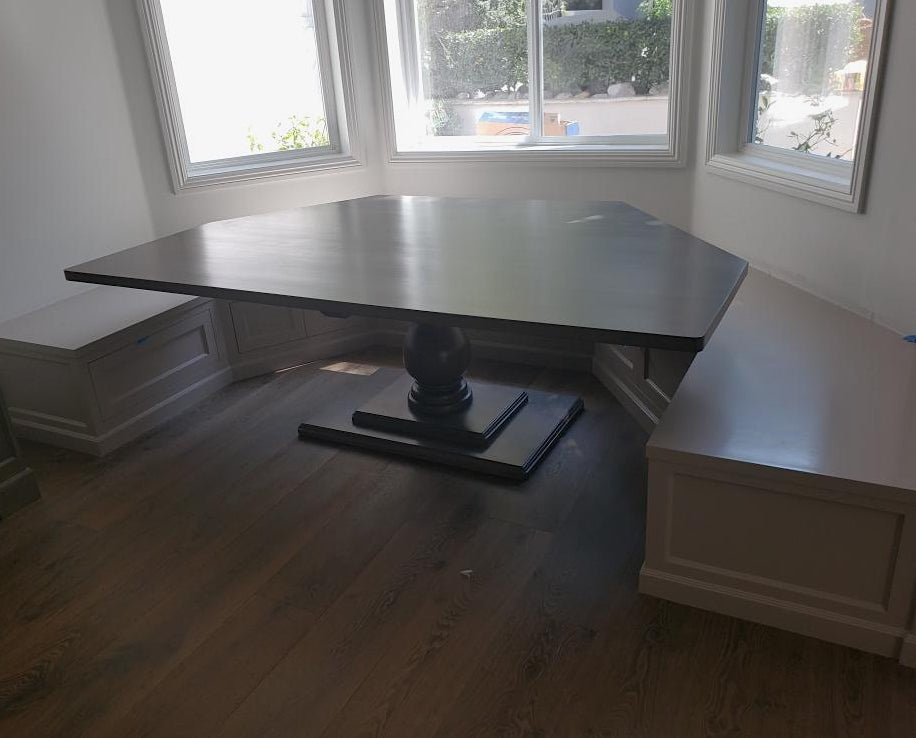 Custom Hexagon Shaped Banquette Kitchen Table Mortise