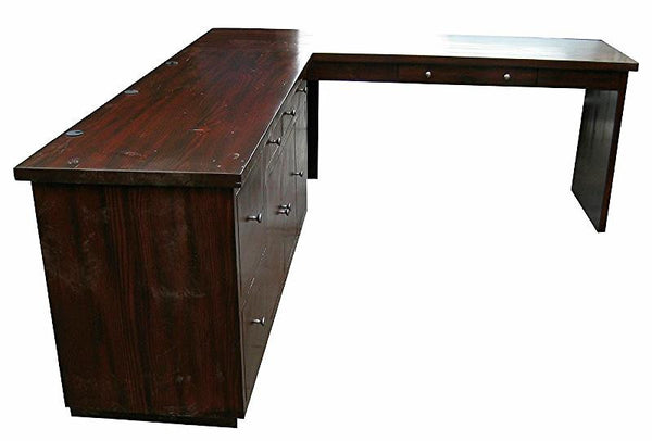 Custom L Shaped Reclaimed Wood Home Office Desk Mortise