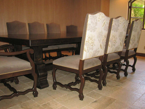 Custom Spanish Dining Table and Upholstered Chairs