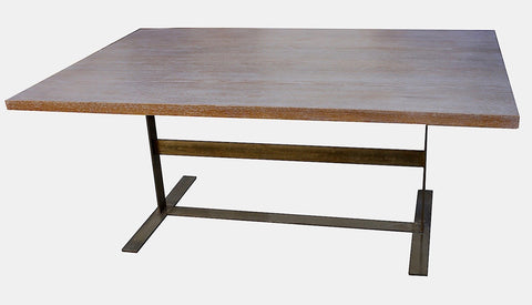 Mid-Century Industrial Modern Trestle Table