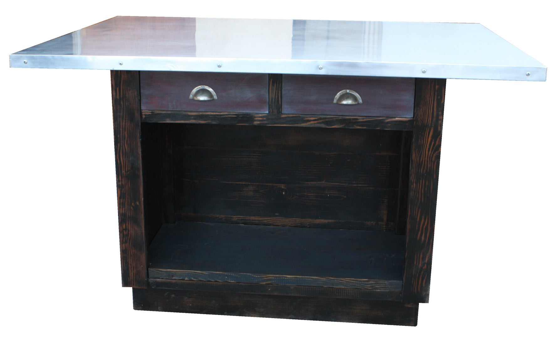 Custom Zinc Top Reclaimed Wood Kitchen Island