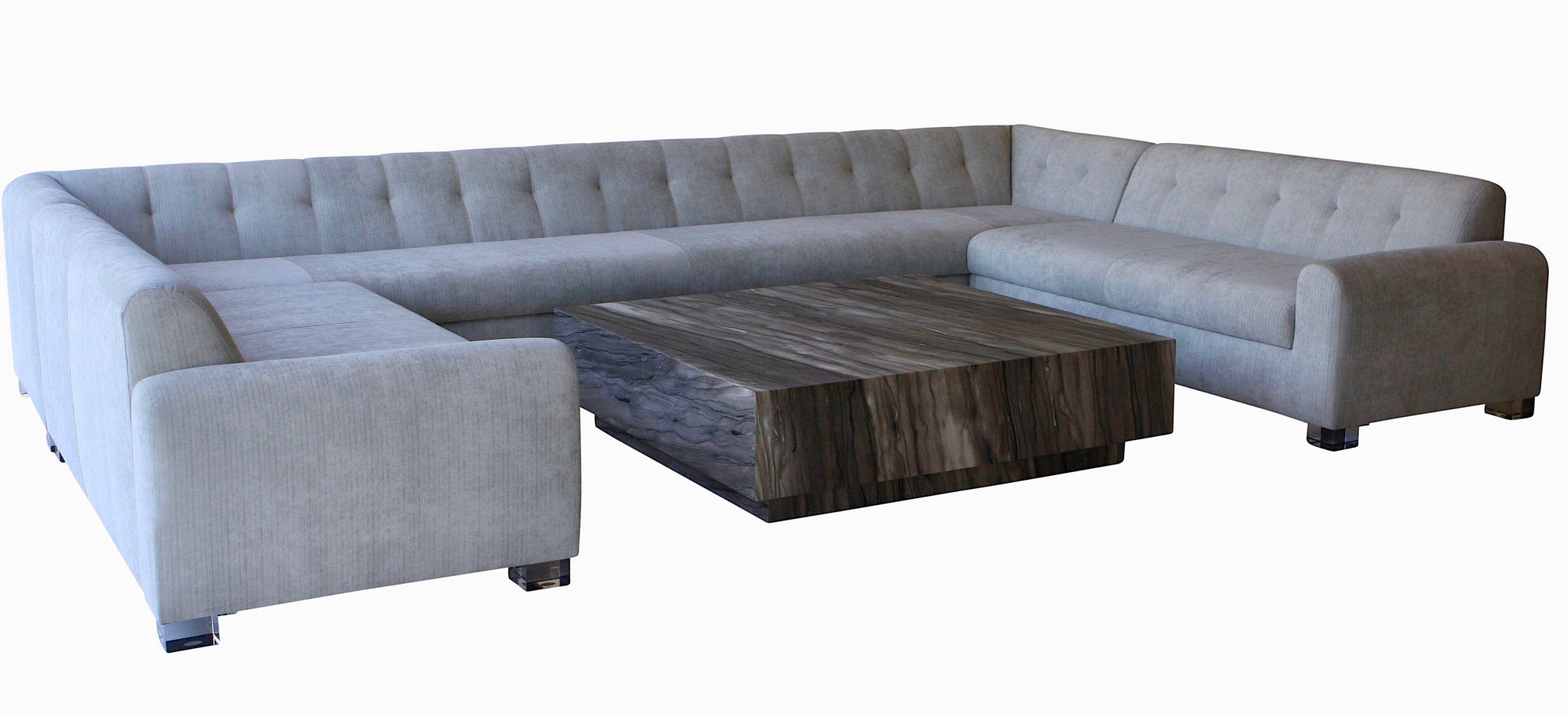 Outdoor Large U Shaped Sectional with Lucite Legs