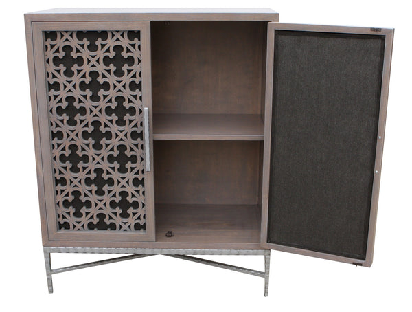 Custom Project Media Cabinet Featurning Laser Cut Panel