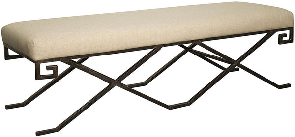 Industrial Deco Upholstered Bench With Upholstered Linen