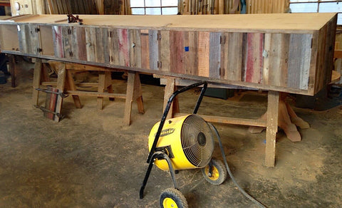Custom Salvaged Barn Wood Builtin Cabinets