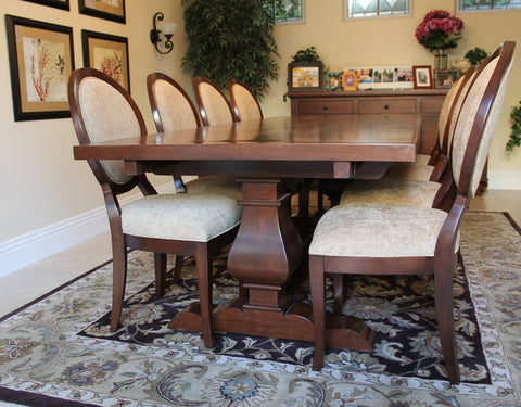 Custom Extension Segovia Table and Queen Anne Chairs