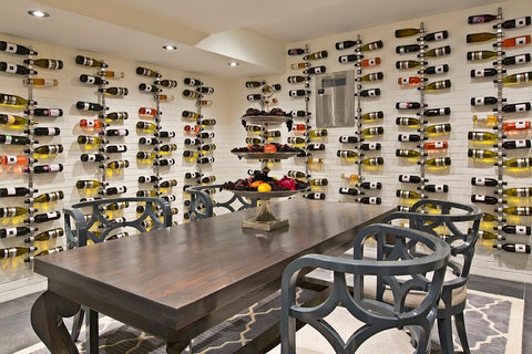 Custom Wine Room - Reclaimed Wood Table