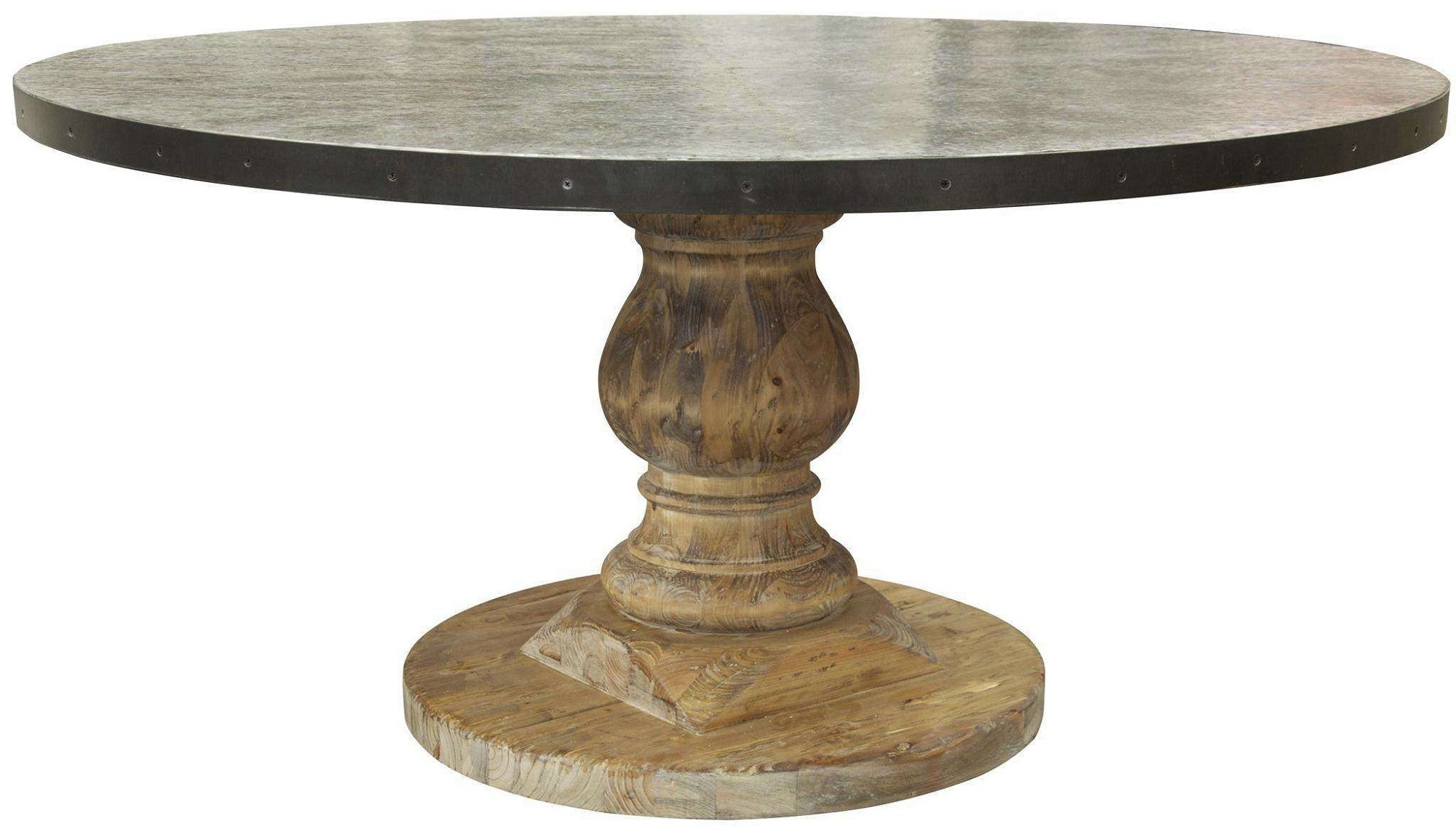 Round pedestal dining table with zinc top mortise tenon for Great dining tables
