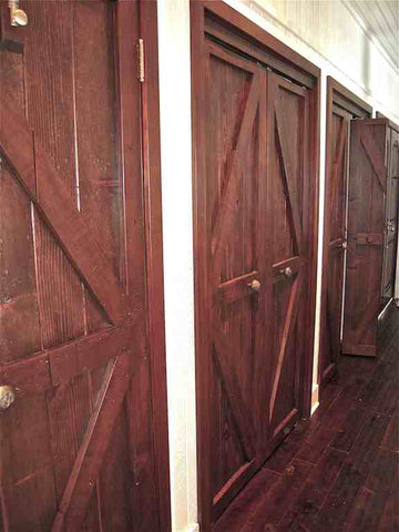 Custom Reclaimed wood and Mahogany closet doors