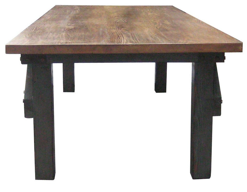 Industrial Work Bench Dining Table In Salvaged Wood
