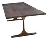 custom dining table with metal legs and walnut top