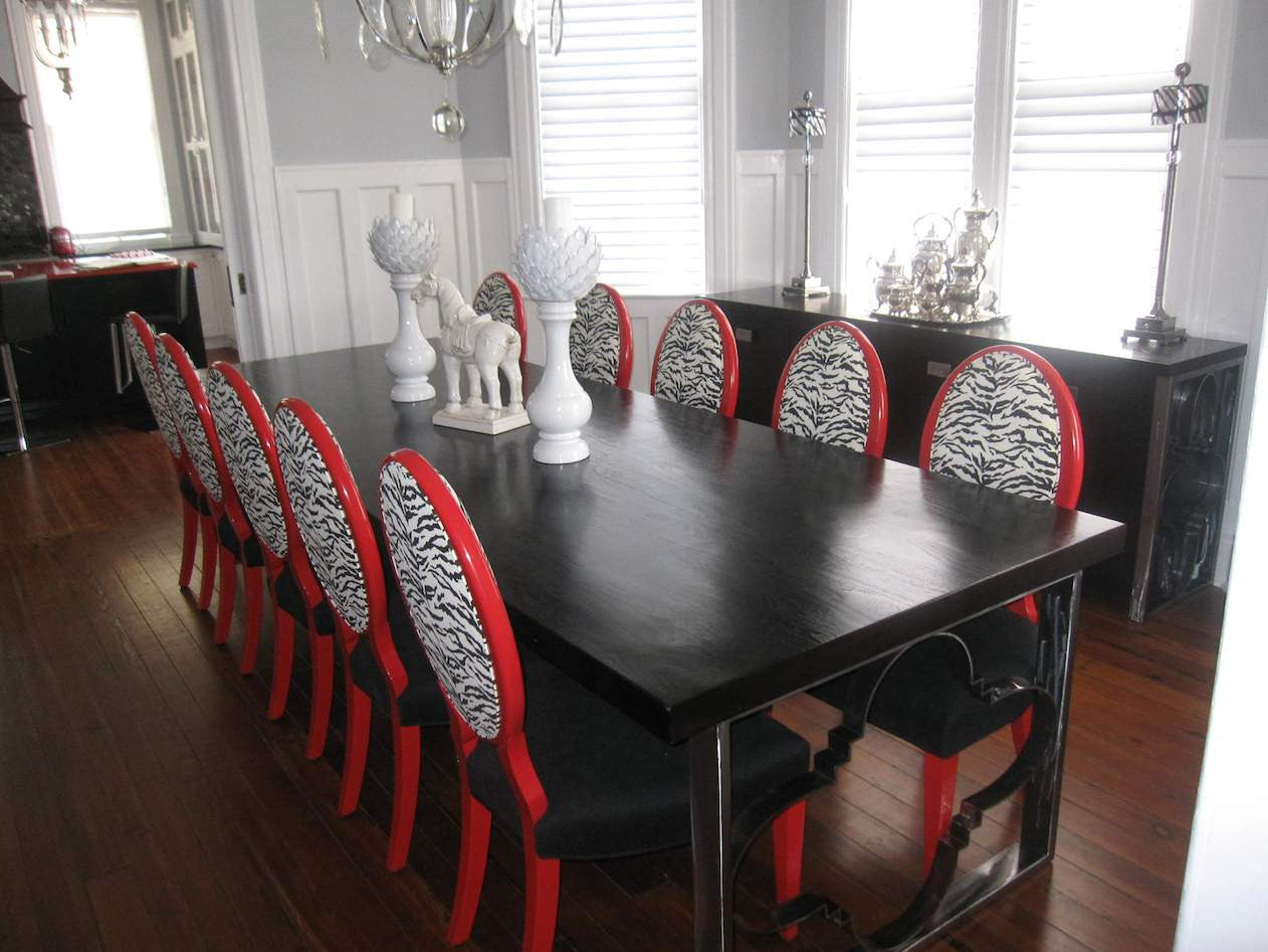 Custom: Dining Table, Buffet, Chairs. Showroom: Tabletop Accessories, Buffet Lamps