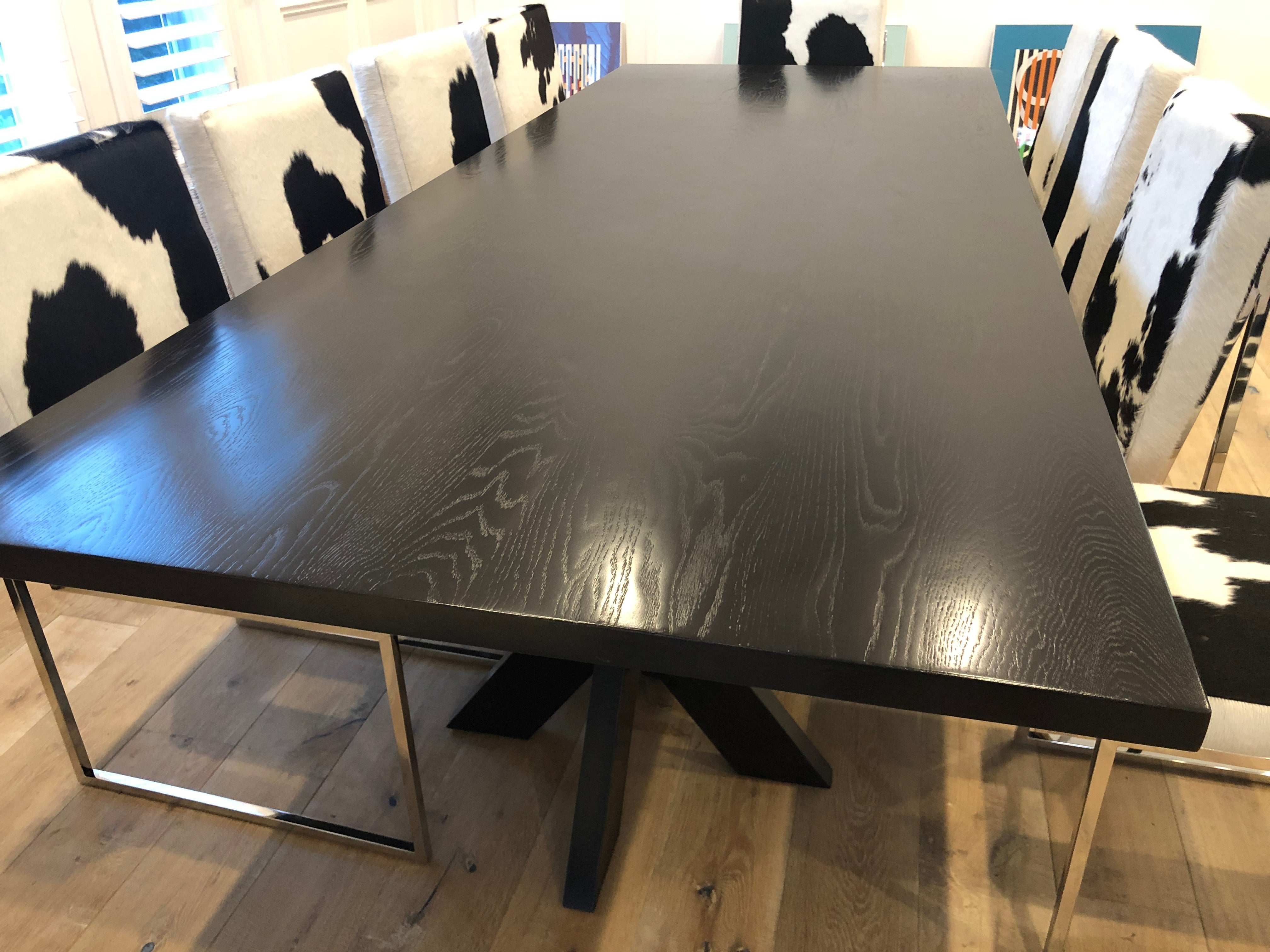Sensational Arden Dining Table With Cow Hide Dining Chairs Mortise Tenon Bralicious Painted Fabric Chair Ideas Braliciousco