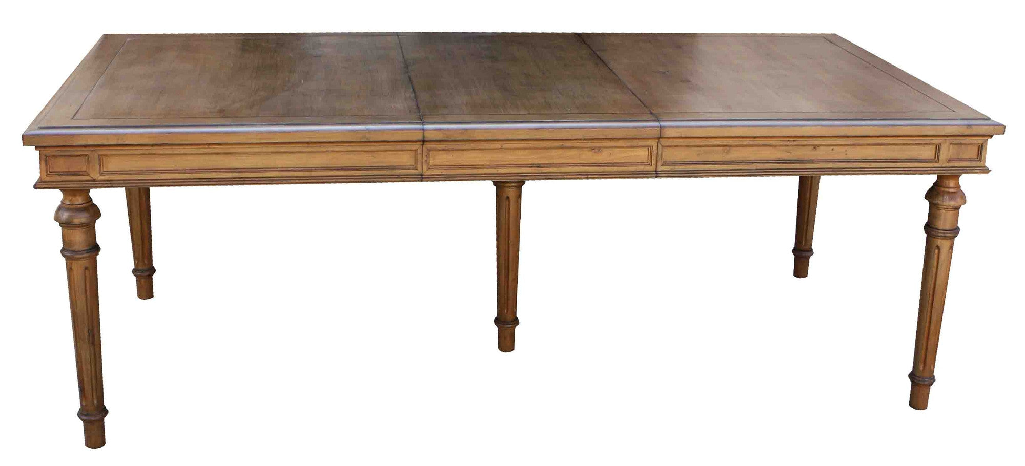 Classic Colonial Fluted Leg Dining Table With Center Extension