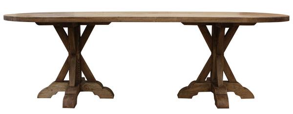 Reclaimed wood double pedestal dining table mortise tenon for Non wood dining table