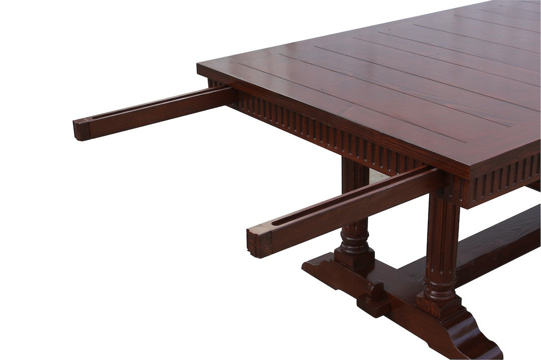 Cambria Rustic Extension Trestle Dining Table Built In Reclaimed Wood