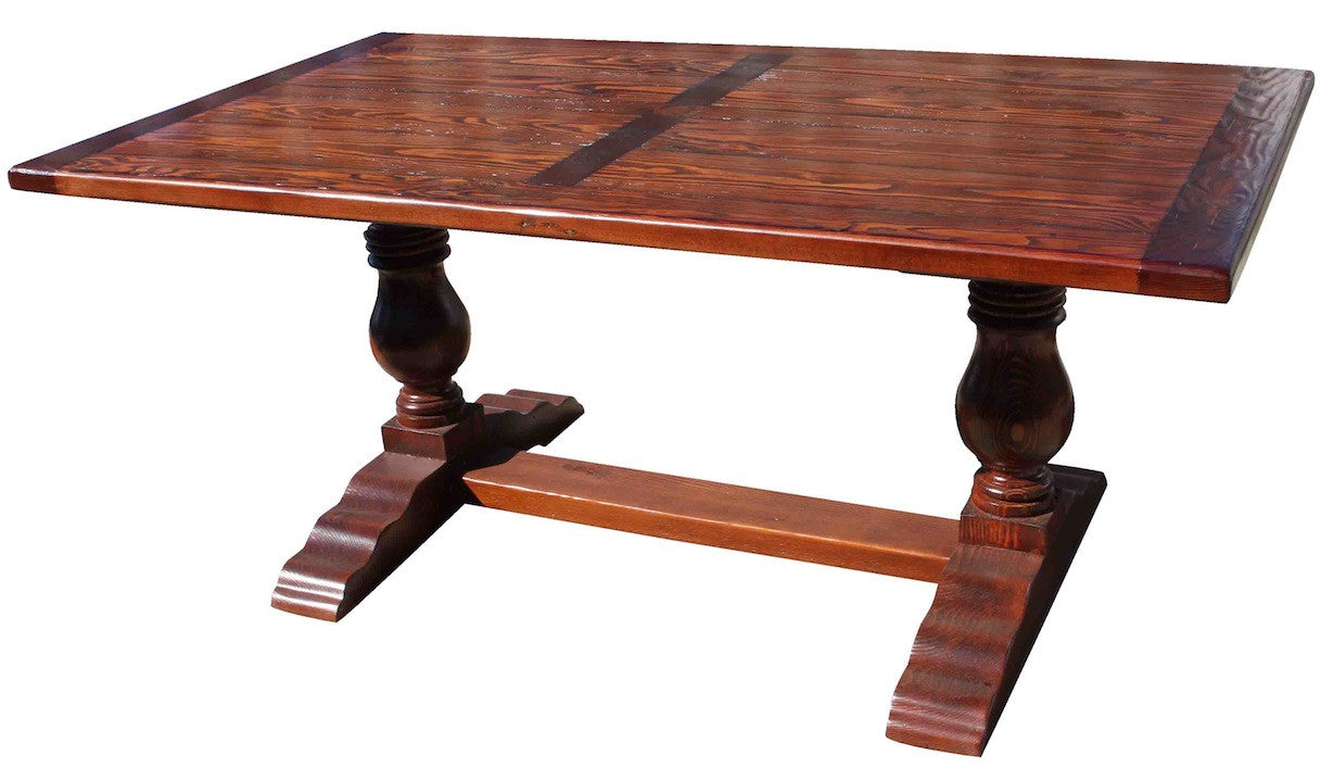 Farmhouse Trestle Dining Table In Salvaged Wood ...