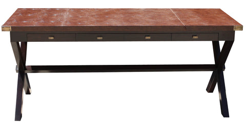 Bourdon Faux Crocodile Leather Top Writing Desk