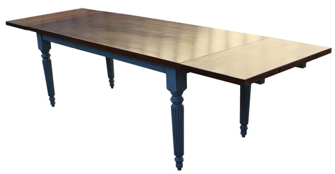 Santa Fe Fluted Leg Extension Dining Table in Solid Hardwood