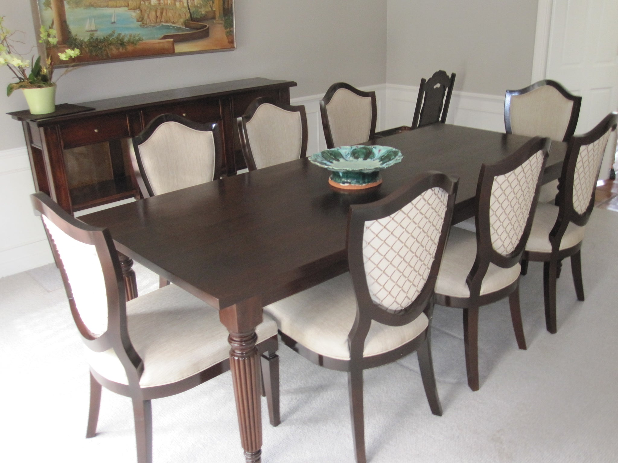 Fluted Leg Dining Table and Shield Back Chairs