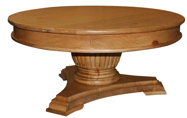 Fluted pedestal base round coffee table mortise tenon for Fluted pedestal base