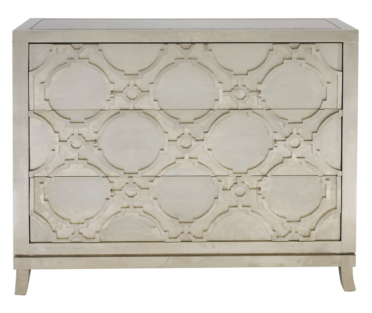 small three drawer silver dresser with geometric embossed pattern