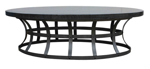 Zuma grey oval coffee table mortise tenon for Gray wood and metal coffee table