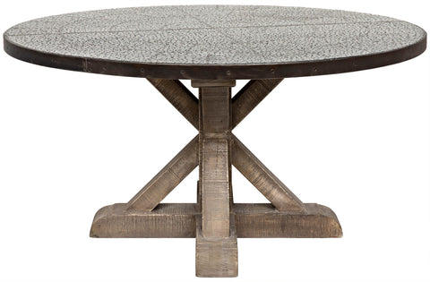 X Base Zinc Top Dining Table