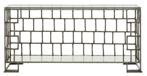 modern open weave basket pattern hammered steel console