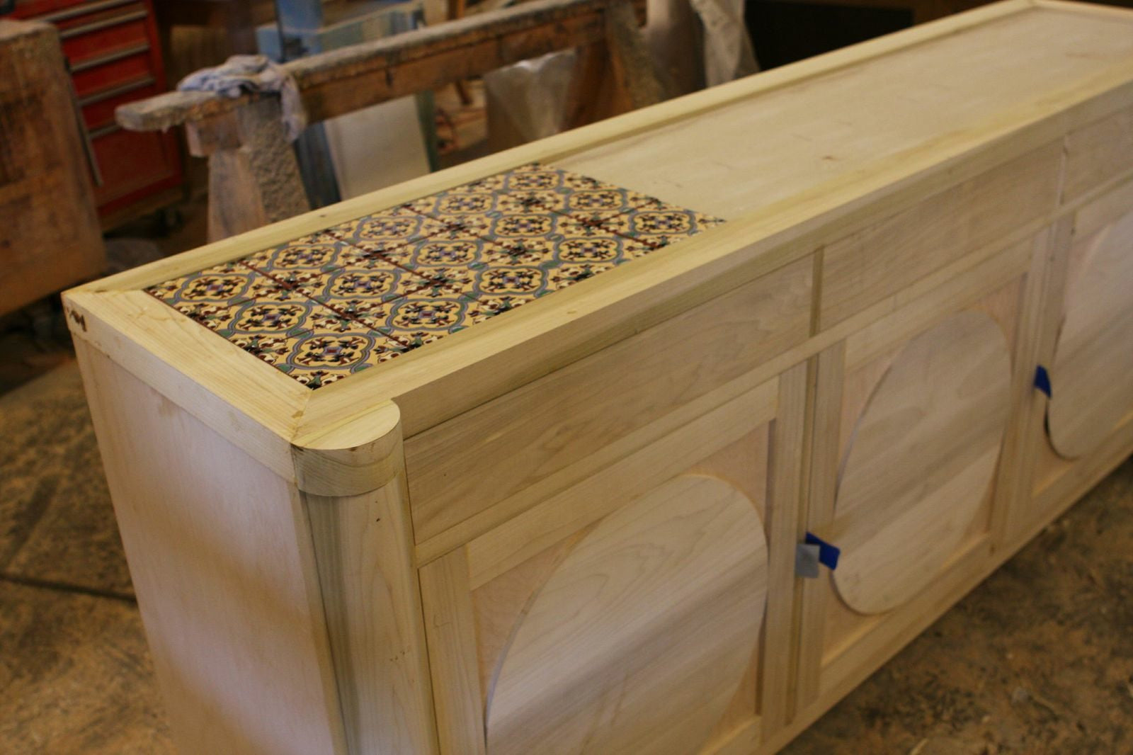 Tiling a Custom Dining Room Cabinet