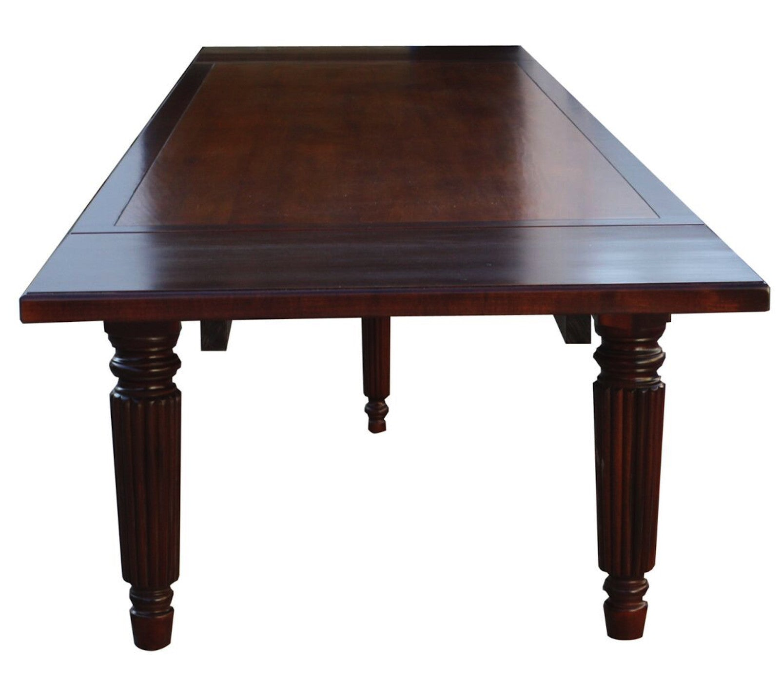 Custom fluted leg extension dining table mortise tenon for Custom dining tables
